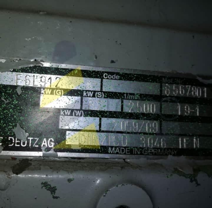 Motor DEUTZ, Modelo: F6L912. TodoMOP.
